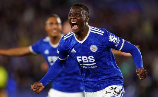 Patson Daka celebrates scoring for Leicester against Napoli. September 2021.