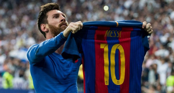 Lionel Messi of Barcelona hold his shirt up to the Real Madrid fans. April 2017.
