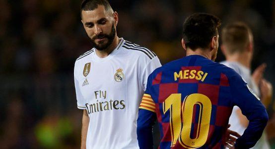 Karim Benzema and Lionel Messi during El Clasico in 2019.