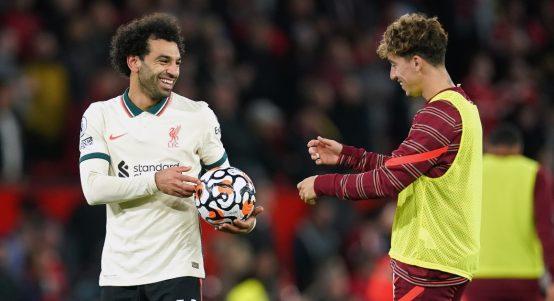 Liverpool's Kostas Tsimikas and Mohamed Salah