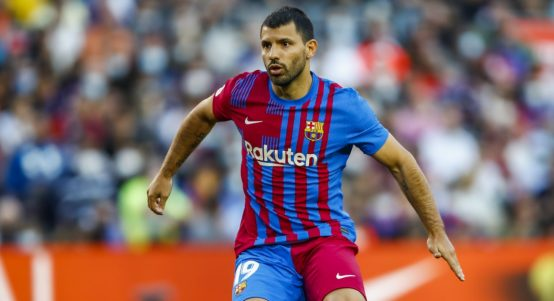 Sergio Aguero playing for Barcelona against Real Madrid