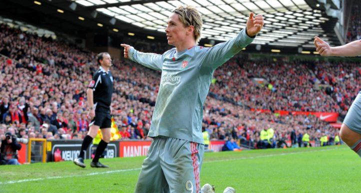 Liverpool's Fernando Torres celebrates after scoring against Manchester United