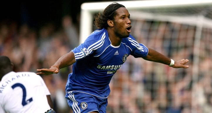 Chelsea's Didier Drogba celebrates after scoring against Manchester City.